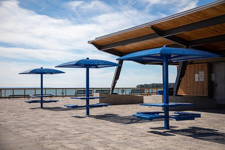 metal umbrella and seating at Bay Beach