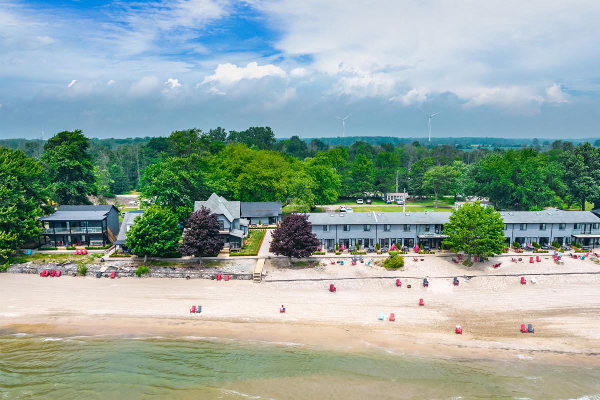 long beach resort exterior arial view