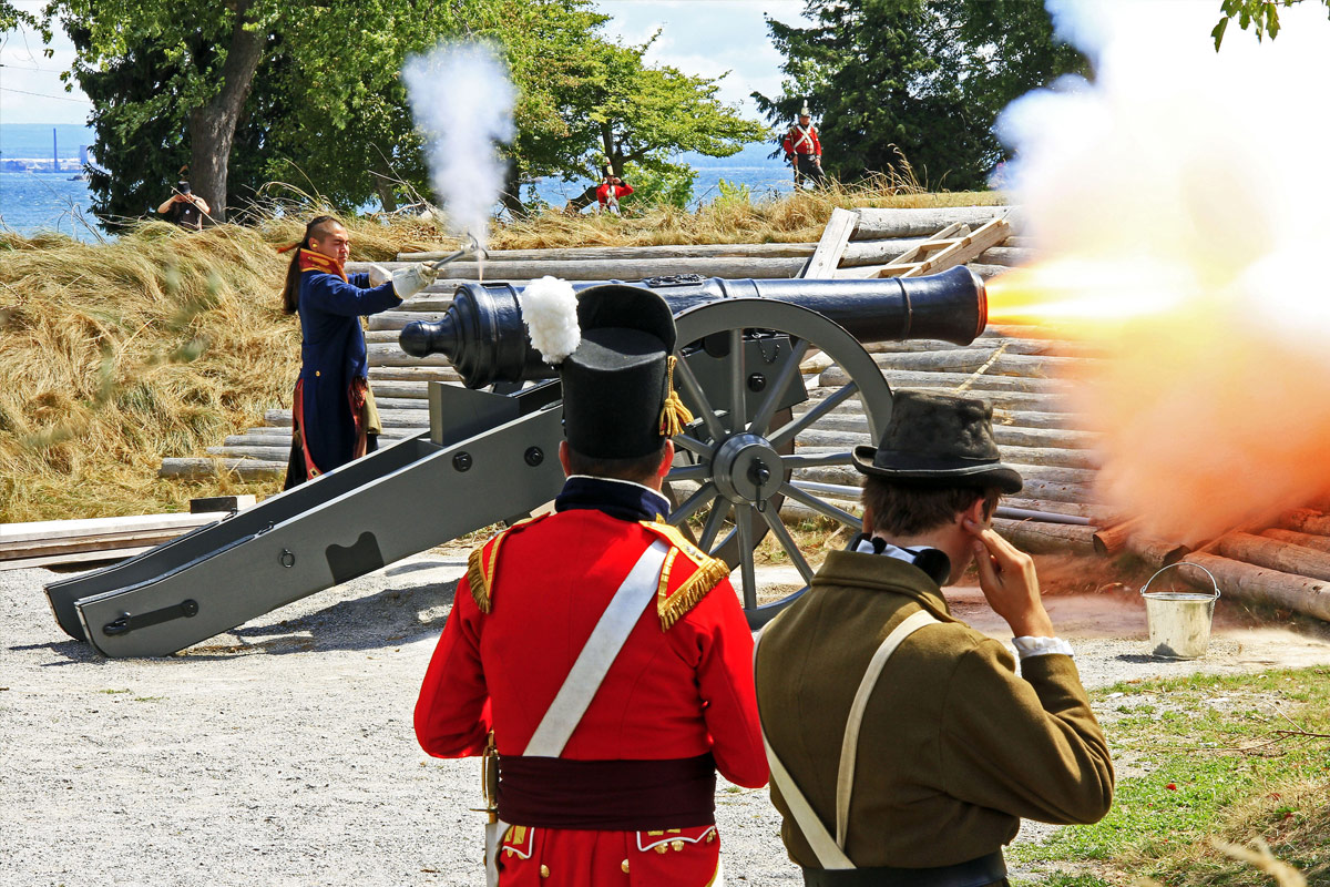 canon shooting at battle re-enactment